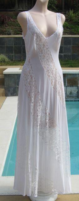 Vintage 70s OLGA White Cascading Lace & Nylon Nightgown