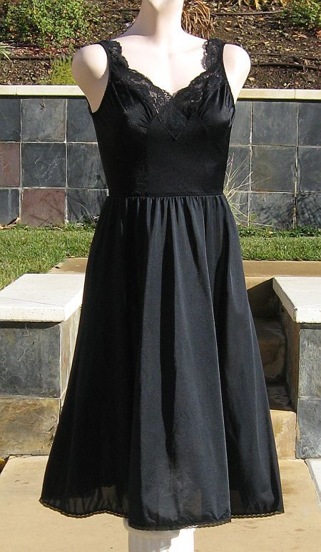 Vintage 70s OLGA Black Short Lacy Slip Nightgown
