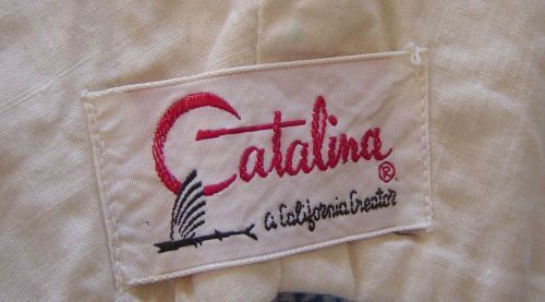 Vintage 50's Catalina Wave stripe Cotton Ruched Swimsuit Bathing Suit