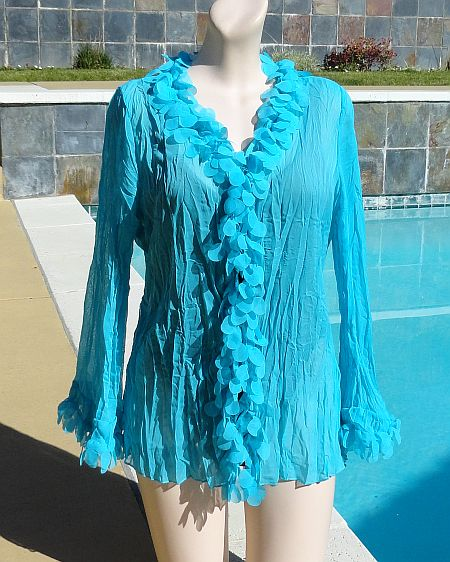 Claudia Richards Turquoise Semi Sheer Crinkle Cover Bubble Swag Collar & Cuffs Cover-Up Shirt Size L