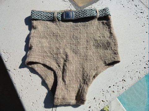Vintage 40s Khaki Tan Textural Wool Swim Trunks Briefs