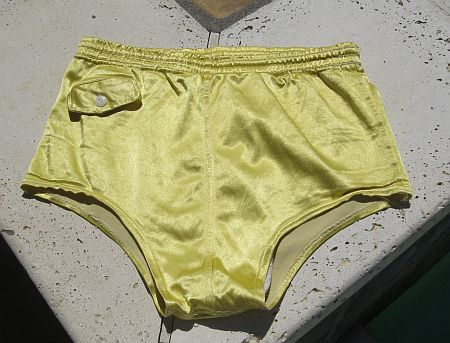 Vintage 40s Yellow Satin Swim Truinks