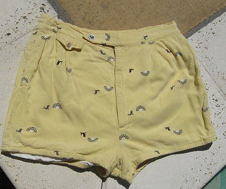 Vintage 50s Seals & Igloos Novelty Print Yellow Swim Trunks