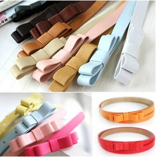Women-sweet-candy-double-bow-PU-leather-belt-Skinny-thin-belt-7-colors-100cm