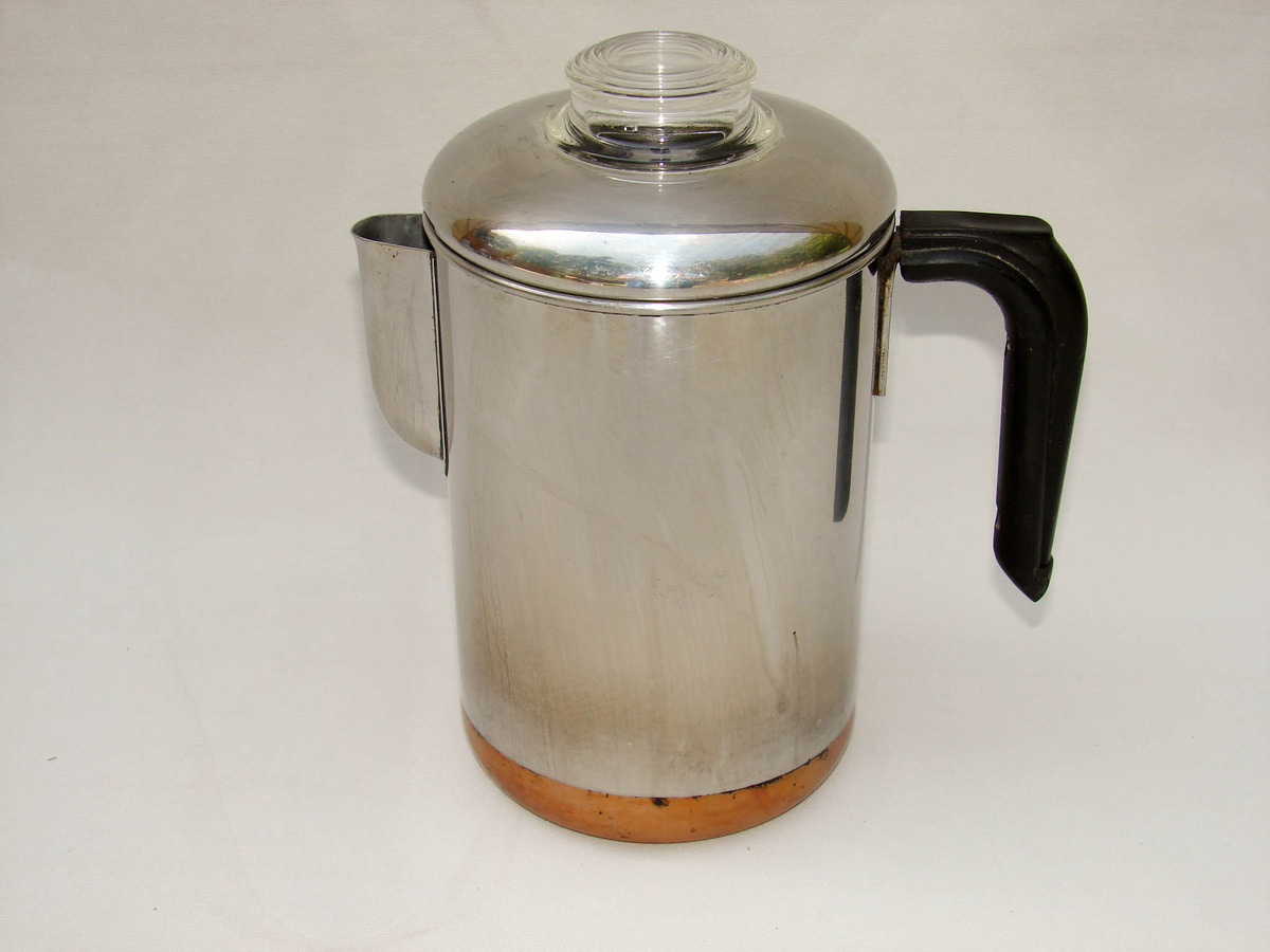 Revere Ware Copper Clad Stainless Stove Top Coffee Pot
