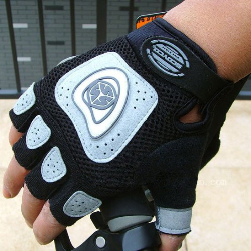 Brand-NEW-Cycling-Bike-Bicycle-half-finger-Silicone-gloves-M-XL-Gray
