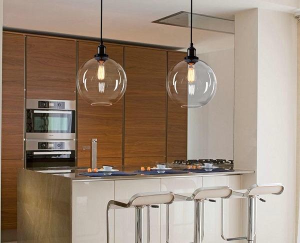 Retro moderno redondo colgante cristal l mpara barra de for Disenador de cocinas gratis