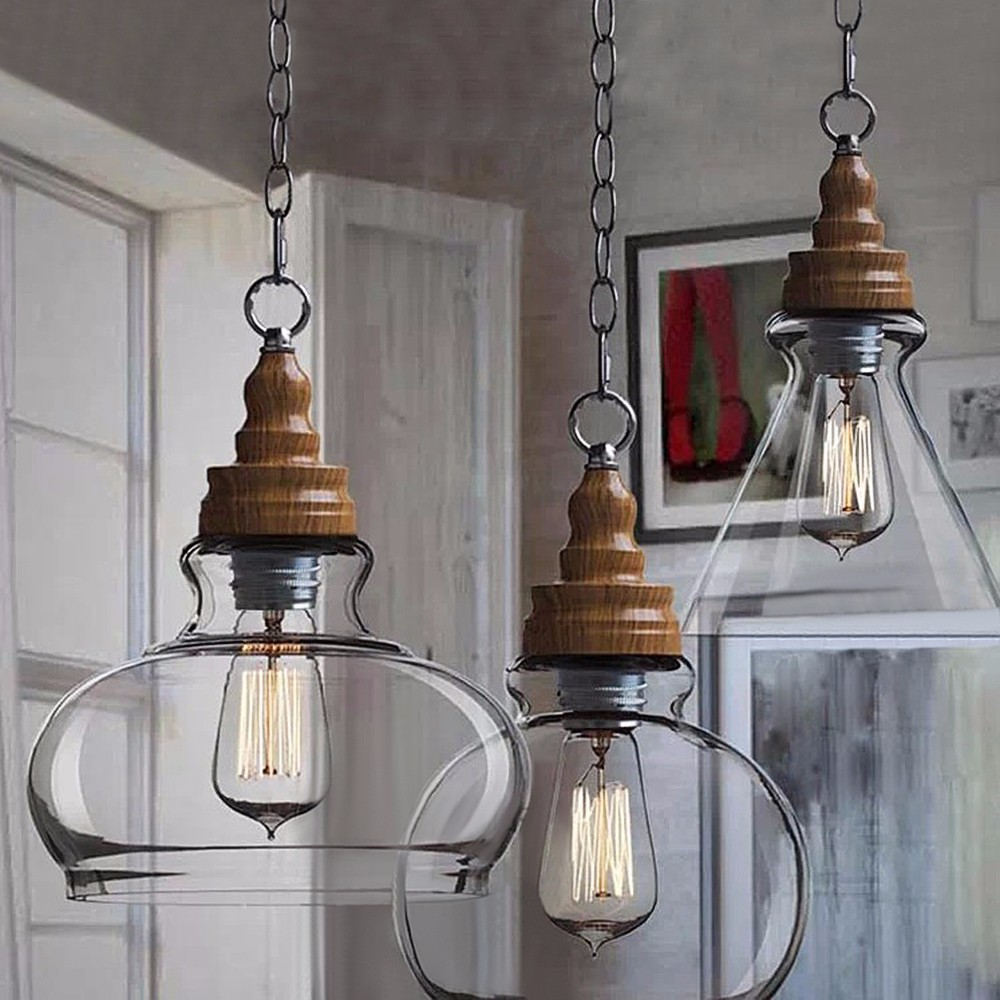 Bjvb Three Vintage Industrial Wood Pendant Lamp Bedroom