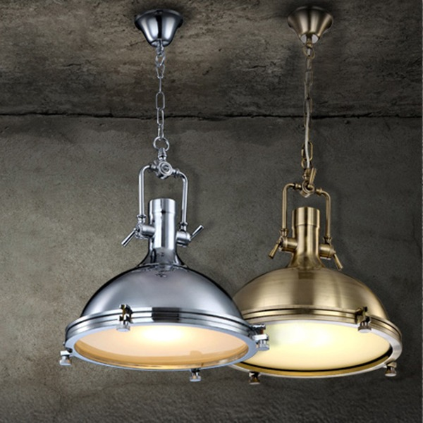 Modern Industrial Retro Nautical Chrome Pendant Lamp Large