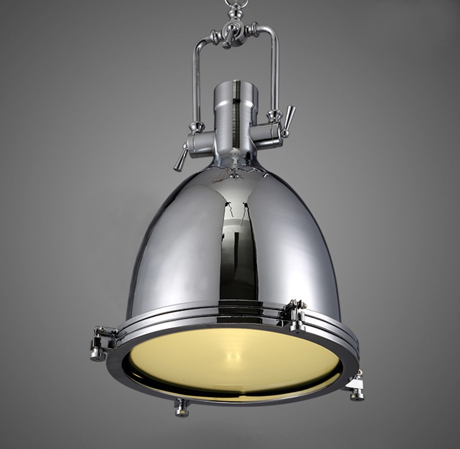 NEW Modern Industrial Retro Nautical Chrome Pendant Lamp