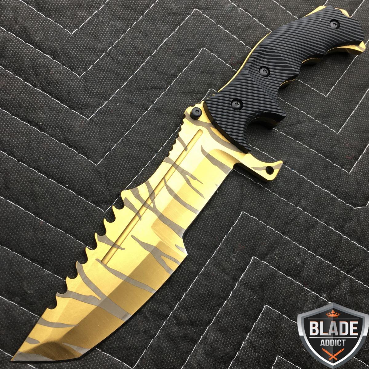 11 counter strike csgo gold tiger huntsman knife hunting bowie survival cs go ebay. Black Bedroom Furniture Sets. Home Design Ideas