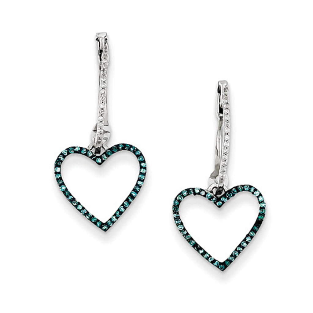 Blue Ice Diamonds 1/4 ct tw Sterling Silver Blue and White Diamond Heart Hinged Hoop Earrings at Sears.com