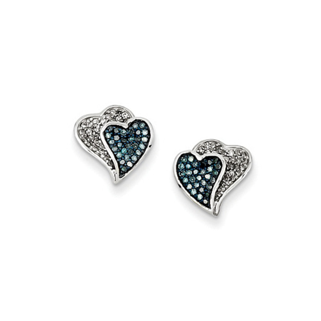 Blue Ice Diamonds 1/3 ct tw Sterling Silver Rhodium Plated Blue & White Diamond Hearts Earrings at Sears.com