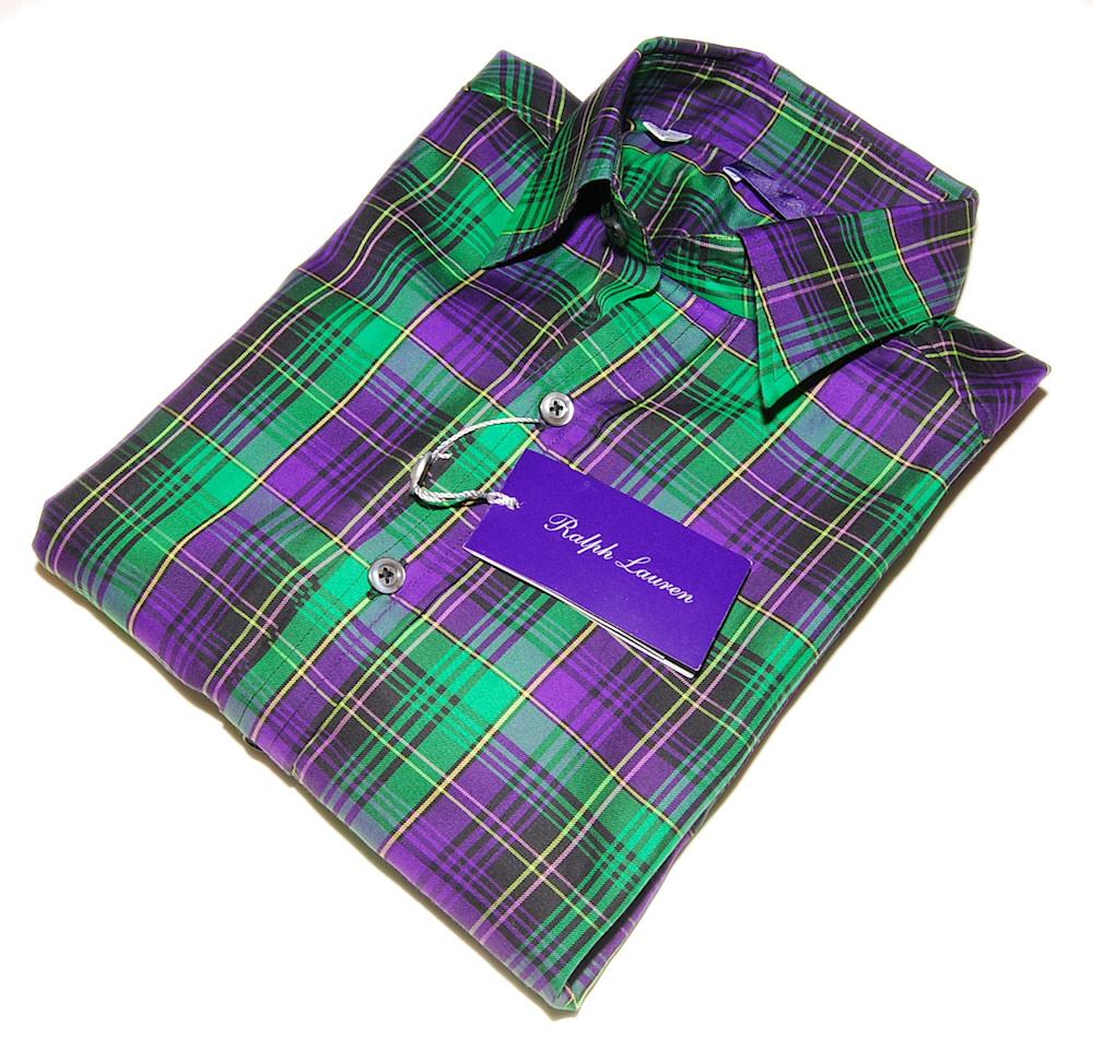 Polo Ralph Lauren Purple Label Mens Plaid Dress Shirt S Ebay