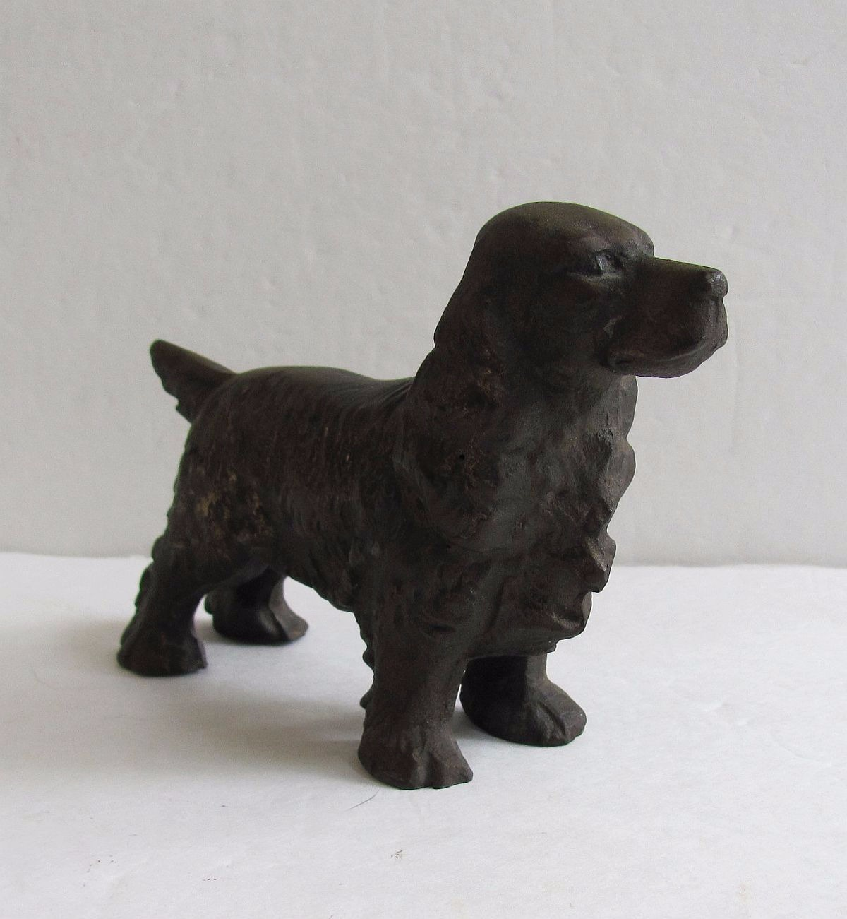Antique hubley bronzed cast iron cocker spaniel dog doorstop paperweight - Cast iron dog doorstop ...
