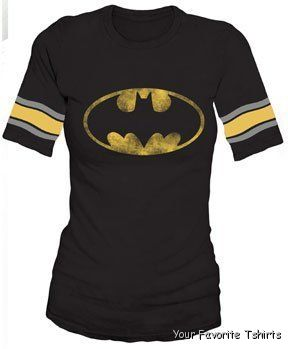 Licensed-DC-Comics-Batman-Distressed-Logo-Hooky-Raglan-Women-Juniors-Shirt-S-XL