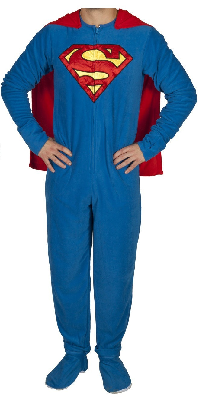 Superman Caped DC Comics Adult Licensed One Piece Footie Pajama S ...