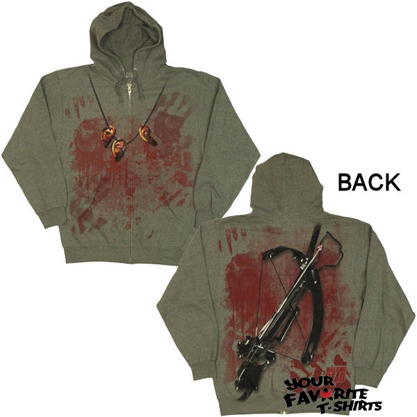 Walking-Dead-Daryl-Dixon-Crossbow-Ears-Costume-Licensed-Zip-Up-Hoodie-S-3XL