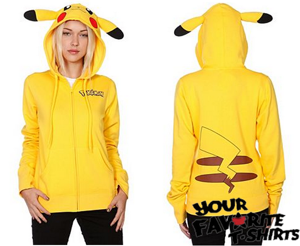 Pokemon I Am Pikachu Costume Women Junior Zip Up Hoodie XS XXL | eBay