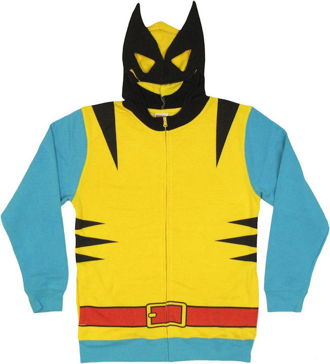 Wolverine Costume With Mask X-MEN Avengers Marvel Licensed Zip Up Hoodie S-2XL