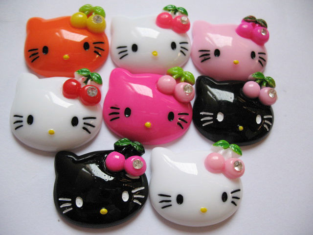 24 Resin Hello Kitty Flatback Button w/Cherry 8 Colors K021