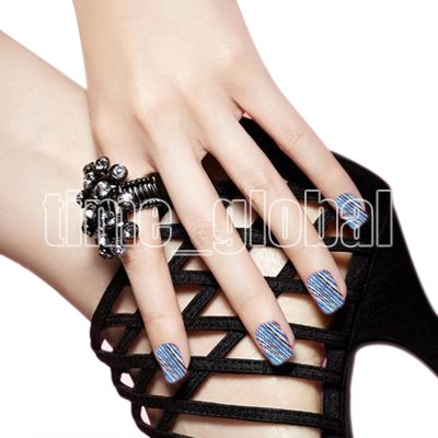16pcs New Bule Black Line Easy Fast Toes DIY Decal Foil Nail Art