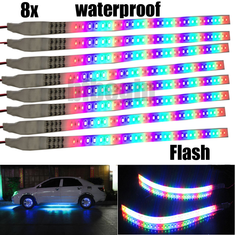 8x bunt wasserdicht 32 led auto motorrad lichtleiste leuchtband streifen licht ebay. Black Bedroom Furniture Sets. Home Design Ideas