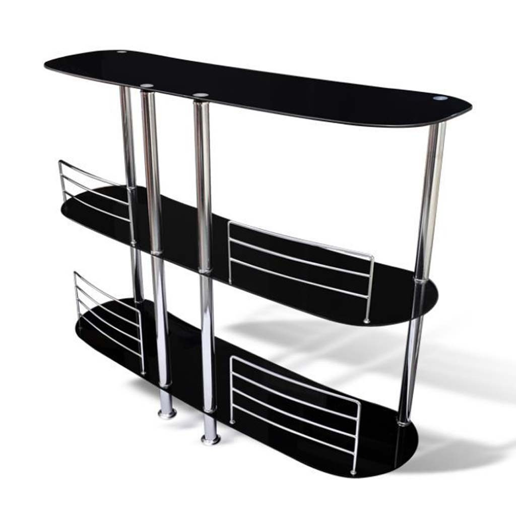 3 Tiers Glass Home Pub Drinks Bar Wine Entertainment Living Room Furniture Black Ebay
