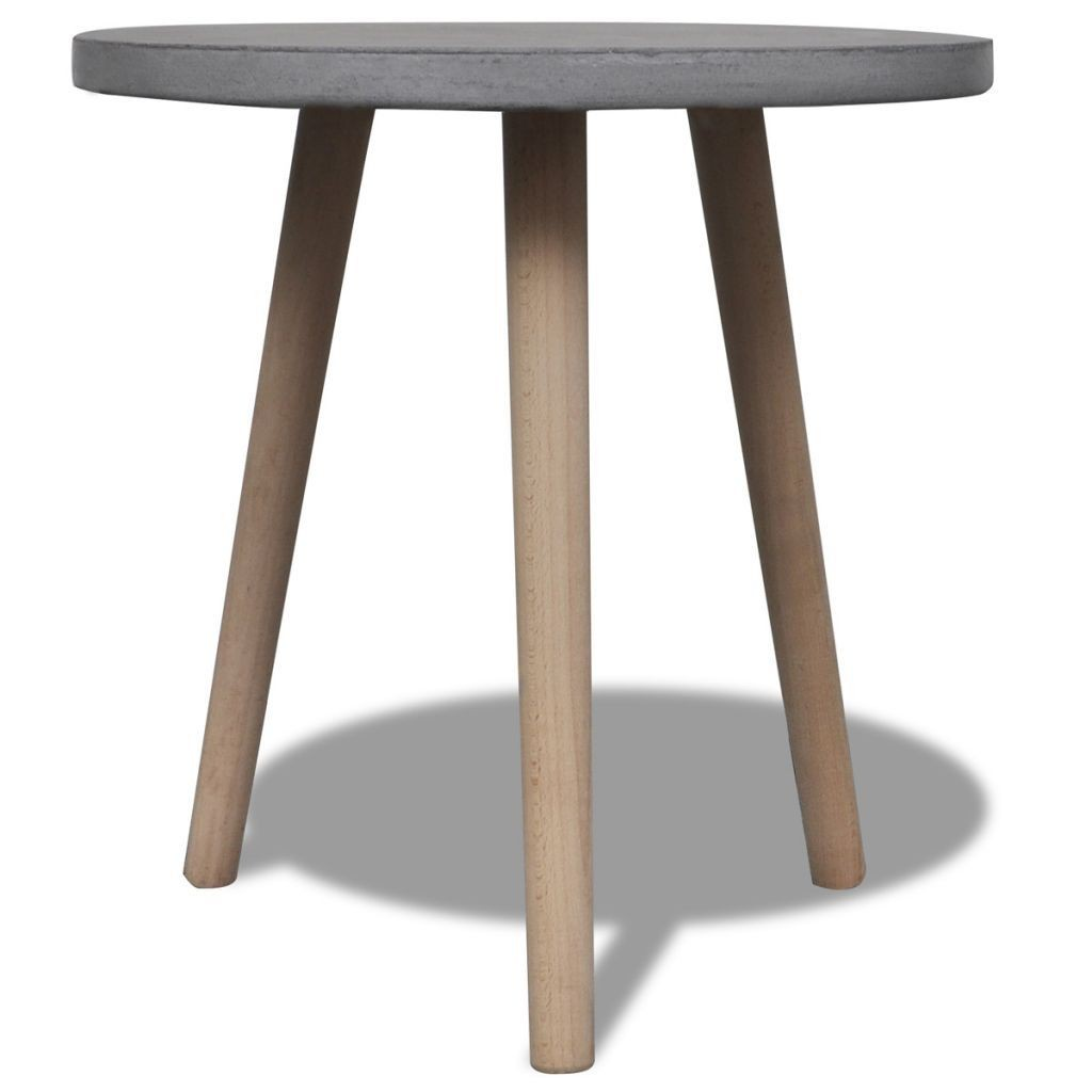 Small Concrete Top Round Dining Table Outdoor Coffee Table with ...