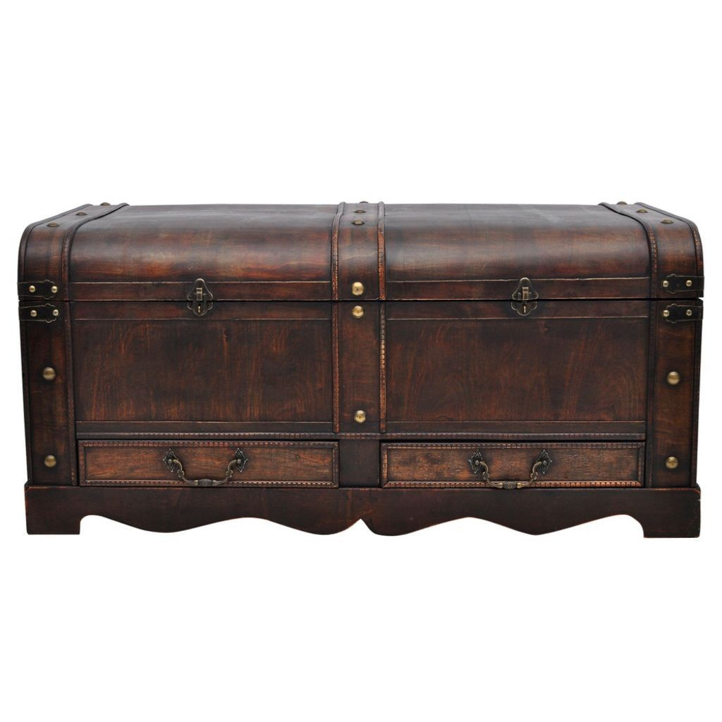 Thin Brown Wooden Furniture Large Vintage Chest Trunk Craft Storage Treasure Box Ebay