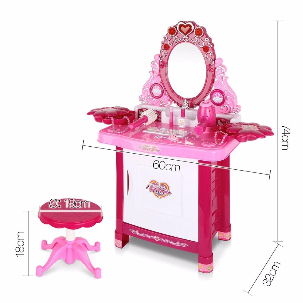 30 Piece Pretend Girls Kids Dressing Table Make Up Beauty Vanity Desk Toy  Set
