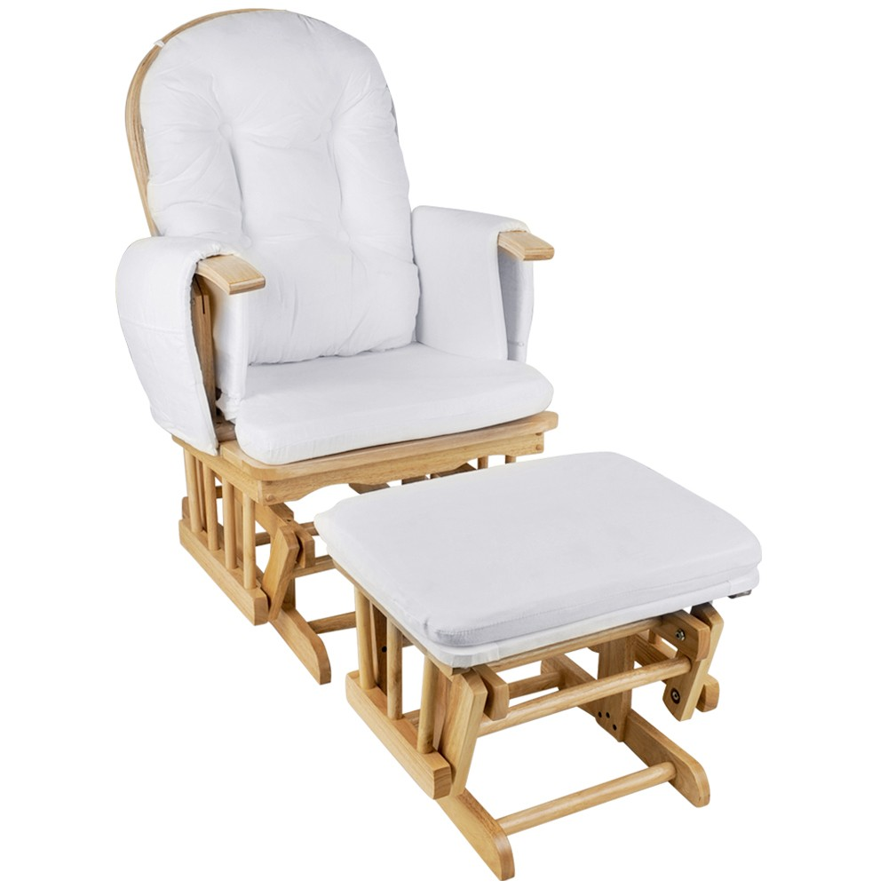 Glider Baby Breast Feeding Sliding Rocking Chair with Ottoman Natural ...