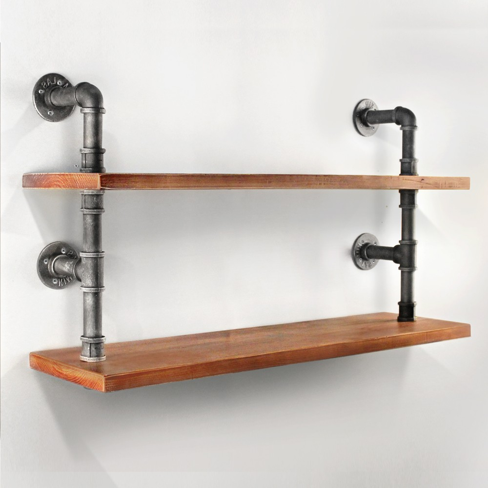 2 level rustic industrial diy pipe shelf storage wooden. Black Bedroom Furniture Sets. Home Design Ideas