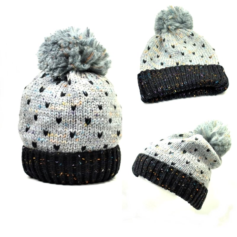 Knitting Pattern For Bobble Hat : Ladies Womens Knitting Pattern Chunky Bobble Beanie Hats Pom Pom Grey / Black...