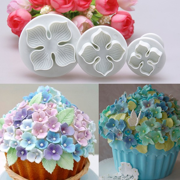 Decorate Cake With Fondant Flowers : 3pcs Hydrangea Fondant Cake Decorating Sugarcraft Plunger ...