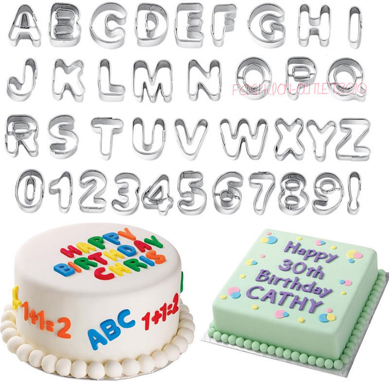 Alphabet & Number Fondant Icing Cutter Set 37 Piece Cake ...