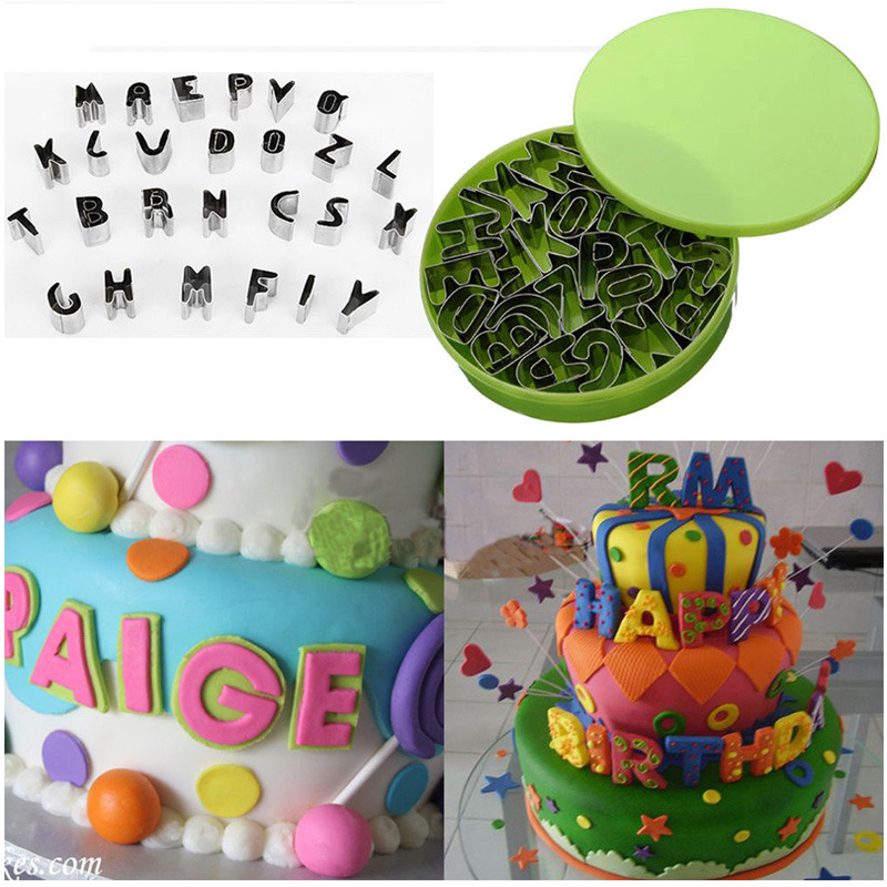 Cake Decorating Letter Cutters : 26pcs Alphabet Letter Cookie Biscuit Fondant Icing Cutter ...