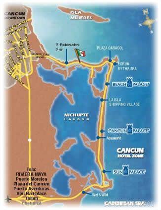 Beach Palace Resort Cancun Map - Cancun hotel zone map