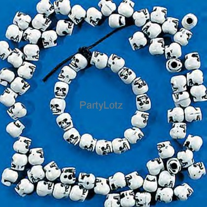 1 PK 300 Pirate Skull Bones Party Necklace Beads