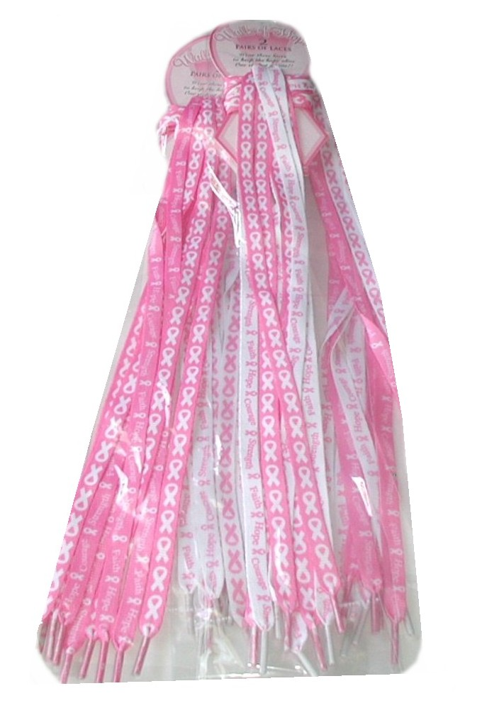 1 lot 3 pks 6 pair pink ribbon shoe laces breast cancer