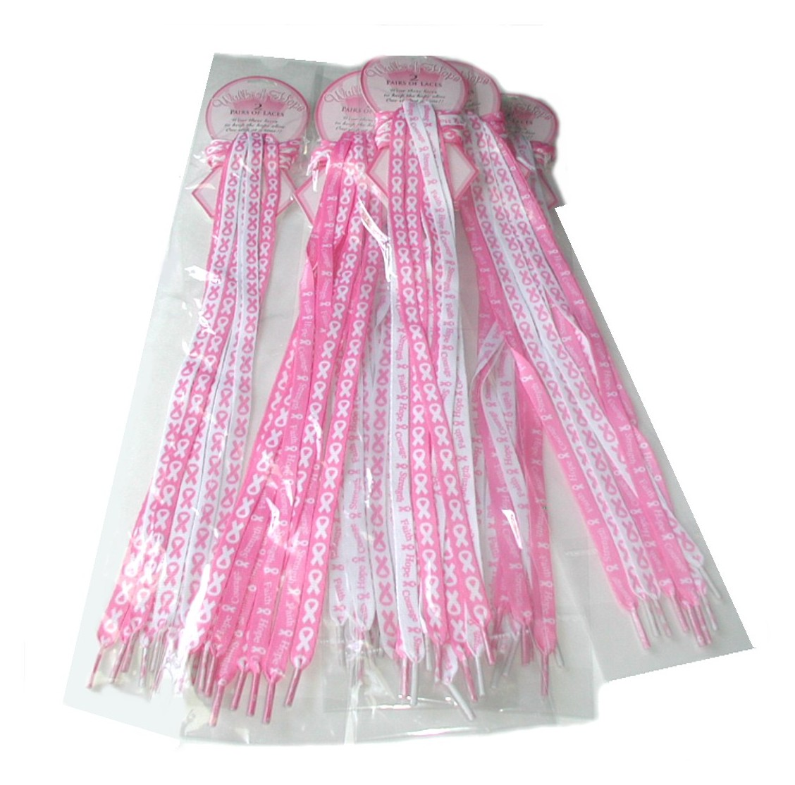 lot 6 pks 12 pair pink ribbon shoe laces breast cancer