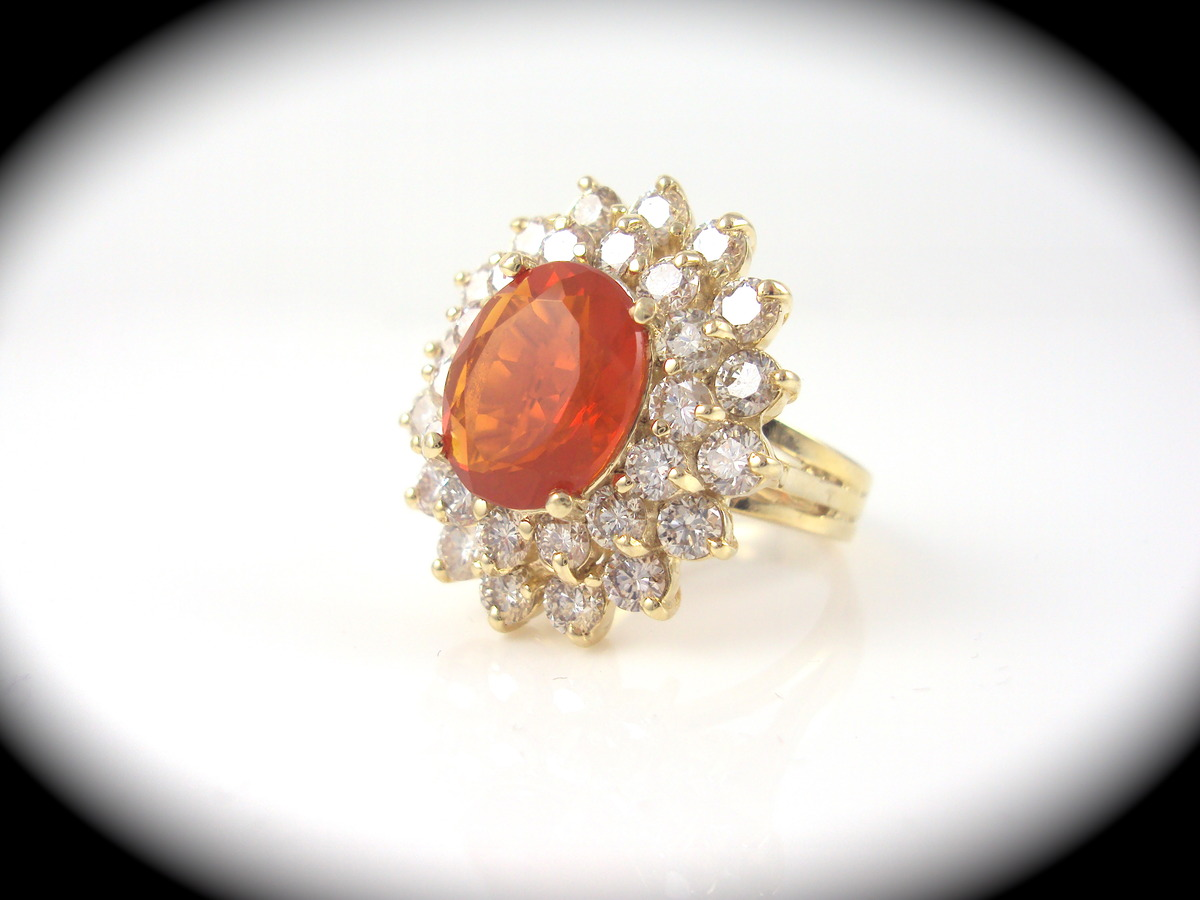 ring with 2 28ct mexican opal 2 82ctw of diamonds
