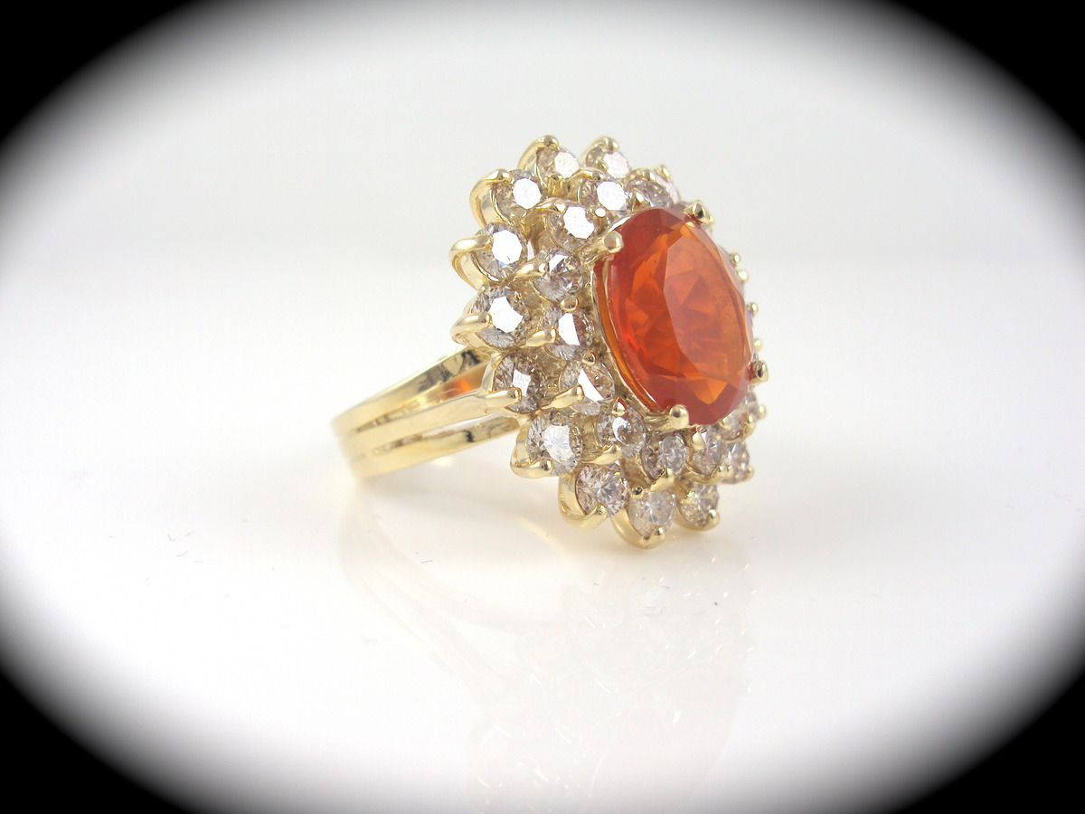large 2 28ct mexican opal ring surrounded by 2 82ctw