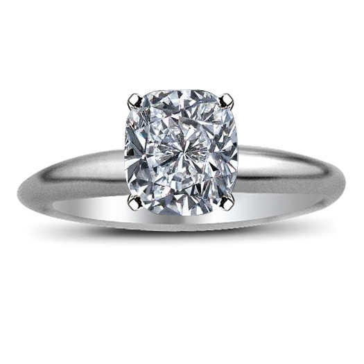 Cushion Cut Diamond Engagement Solitaire Wedding Ring 2 Carat HSI2
