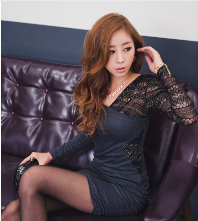 New Women Lady Slim Lace Splice Long Sleeve Mini Dress Sexy Cocktail