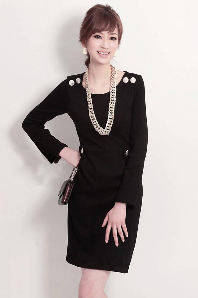 Купить Платье чёрное с рукавом.