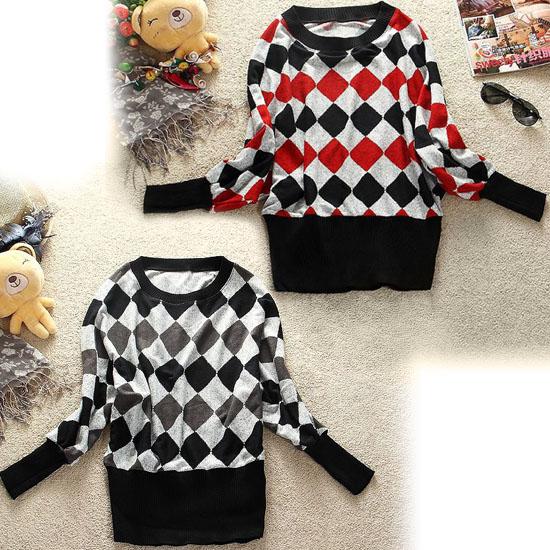 Korea-Japan-Hot-Lady-Knitwear-Bat-Long-Sleeved-Plaid-Sweater-Autumn-Jacket-A110
