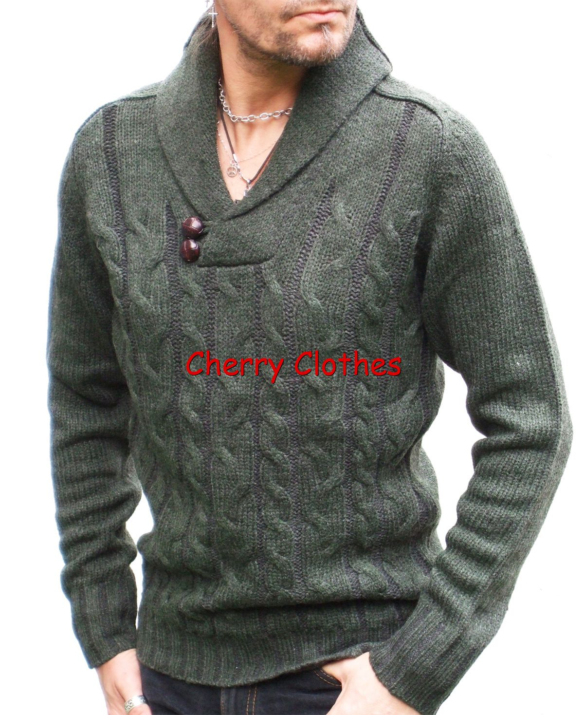 MENS CHUNKY CABLE KNIT SHAWL COLLAR JUMPER SWEATER ALL ...