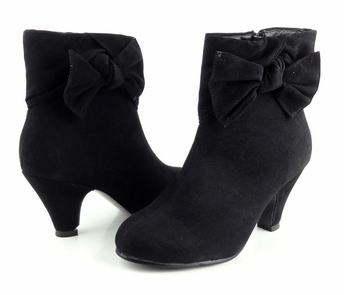 ankle boots black comfort platform bow faux suede cute