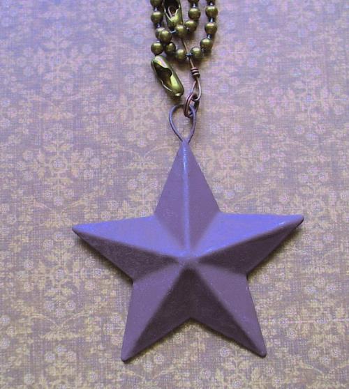 Primitive Barn Star Fan Pull Light Chain Rustic Brown